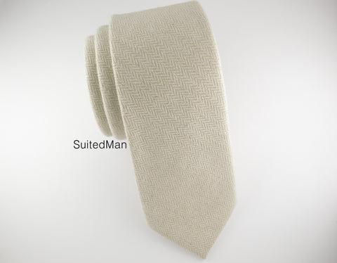Tie, Wool, Antique White Herringbone - SuitedMan