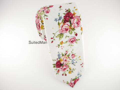 Floral Tie, White English Rose - SuitedMan