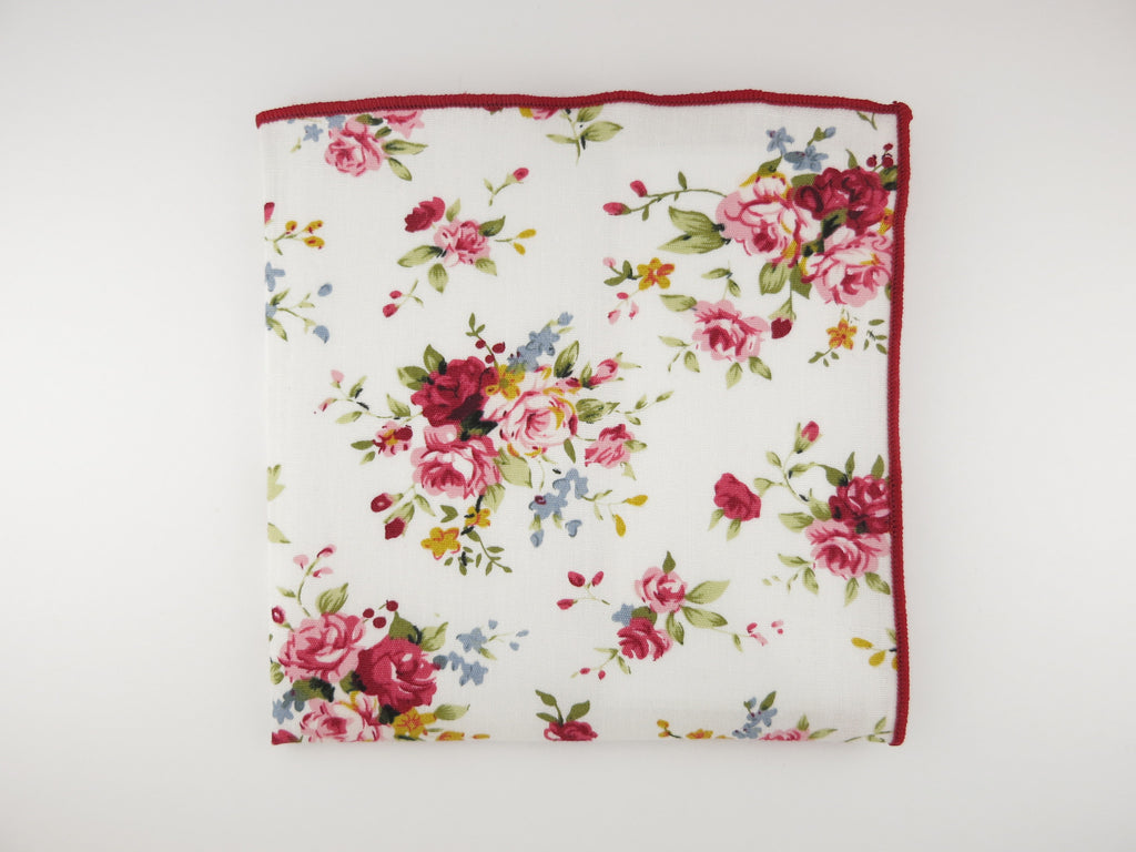 Pocket Square, White English Rose - SuitedMan