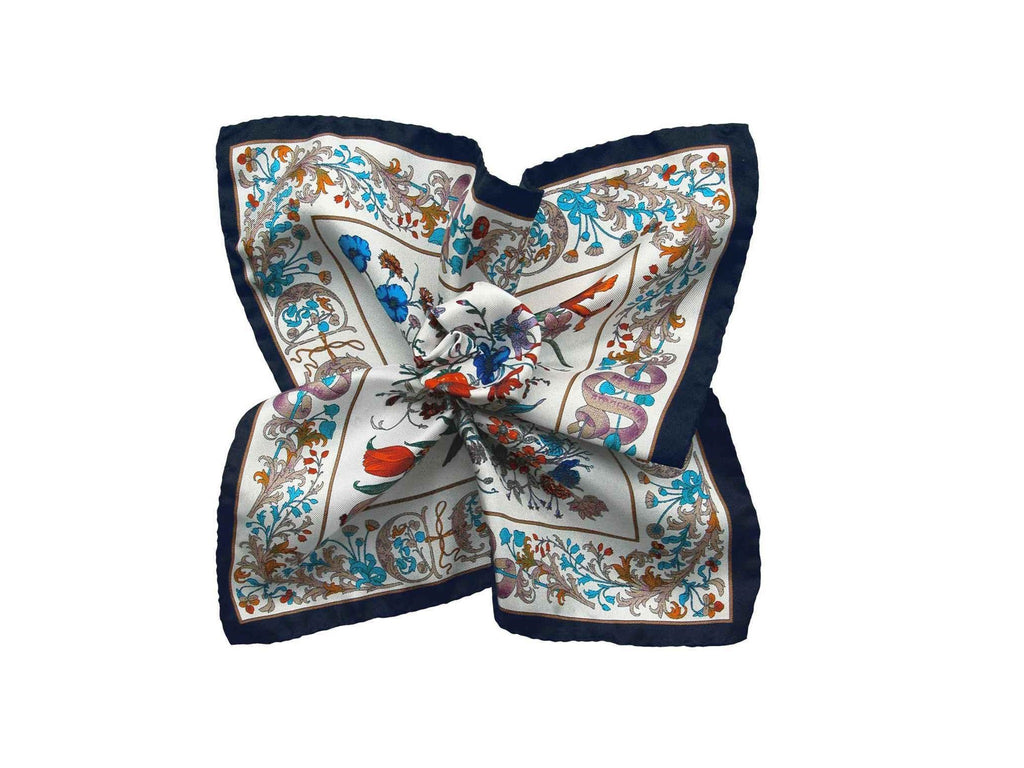 Pocket Square, White Floral D'Italia - SuitedMan