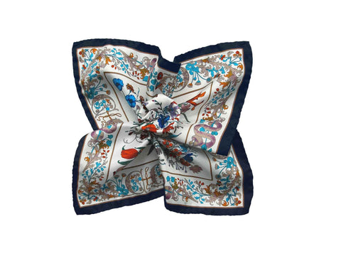 Pocket Square, White Floral D'Italia