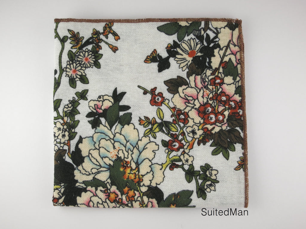 Pocket Square, White Peonies - SuitedMan