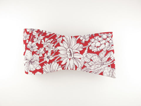 Floral Bow Tie, White/Red Floral, Flat End