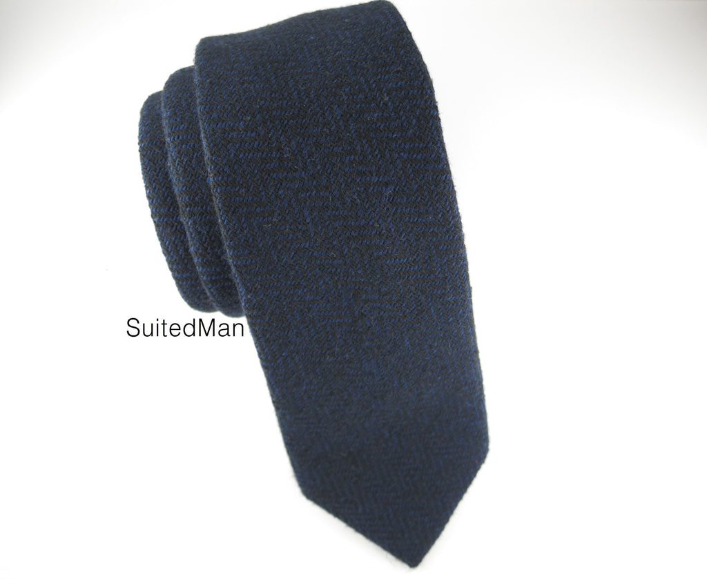 Tie, Wool, Navy Herringbone - SuitedMan