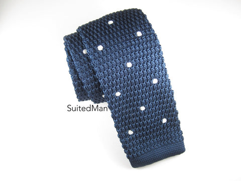 Knit Tie, Polka Dots, Navy/White