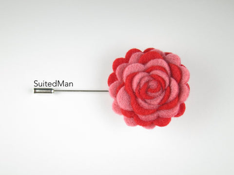 Pin Lapel Flower, Felt, Colorway, Shades of Red - SuitedMan