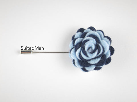 Pin Lapel Flower, Felt, Colorway, Baby Blue/Midnight Blue - SuitedMan