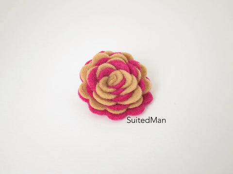 Lapel Flower, Felt, Two Tone, Mocha/Neon Pink Colorway