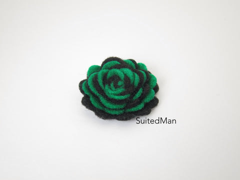 Lapel Flower, Felt, Two Tone, Emerald Green/Black Colorway