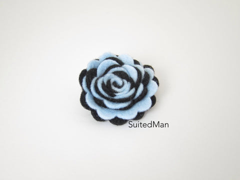 Lapel Flower, Felt, Two Tone, Baby Blue/Black Colorway - SuitedMan