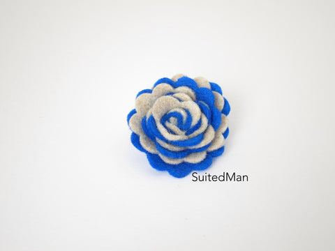 Lapel Flower, Felt, Two Tone, Burlap/Royal Blue Colorway - SuitedMan