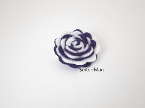 Lapel Flower, Felt, Two Tone, White/Deep Purple Colorway