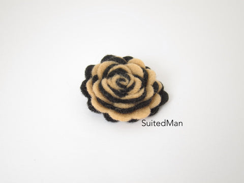 Lapel Flower, Felt, Two Tone, Mocha/Black Colorway