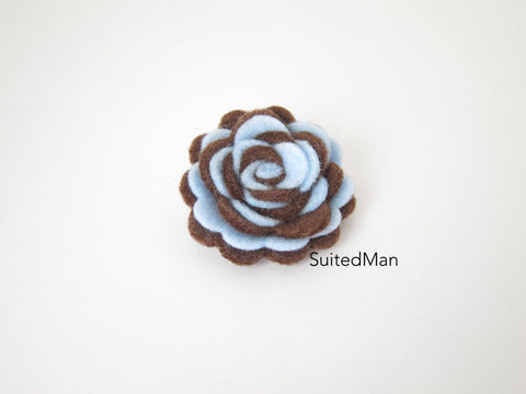 Lapel Flower, Felt, Two Tone, Baby Blue/Brown Colorway