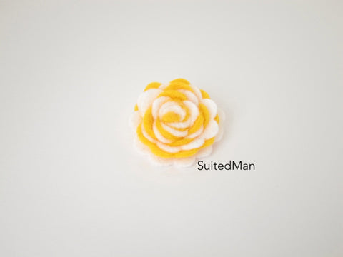 Lapel Flower, Felt, Two Tone, White/Deep Yellow Colorway