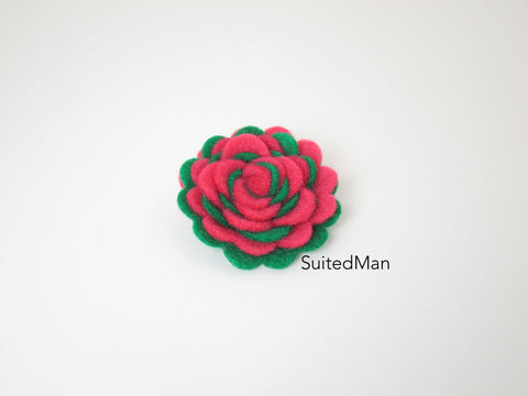 Lapel Flower, Felt, Two Tone, Neon Pink/Emerald Green Colorway