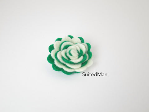Lapel Flower, Felt, Two Tone, Cream/Emerald Green Colorway
