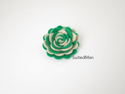 Lapel Flower, Felt, Two Tone, Burlap/Emerald Green Colorway