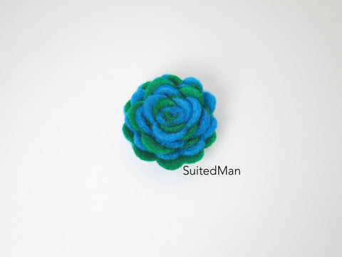 Lapel Flower, Felt, Two Tone, Aqua Blue/Emerald Green Colorway