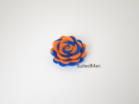 Lapel Flower, Felt, Two Tone, Tangerine/Royal Blue Colorway