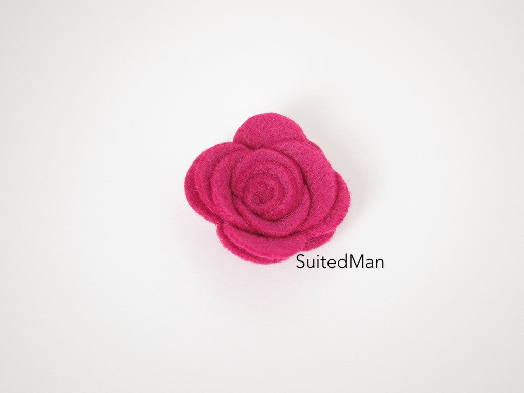Lapel Flower, Felt, Rose, Magenta - SuitedMan