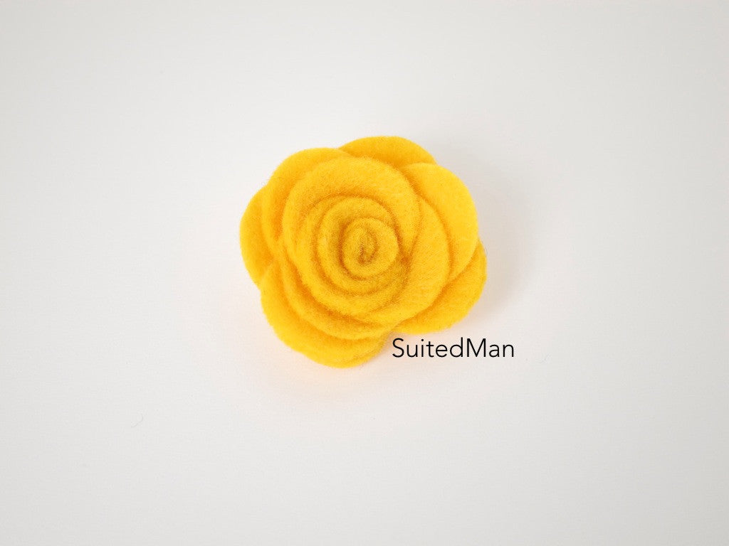 Lapel Flower, Felt, Rose, Autumn - SuitedMan