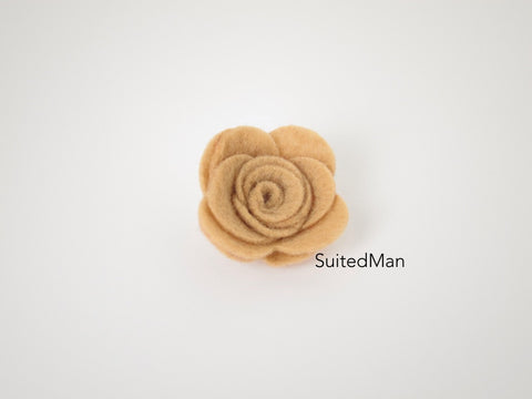 Lapel Flower, Felt, Rose, Mocha