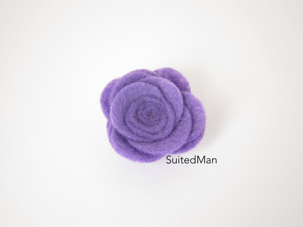 Lapel Flower, Felt, Rose, Lavender - SuitedMan