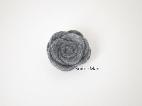 Lapel Flower, Felt, Rose, Heather Grey