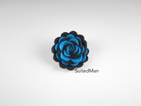 Lapel Flower, Felt, Two Tone, Black/Aqua Blue Colorway