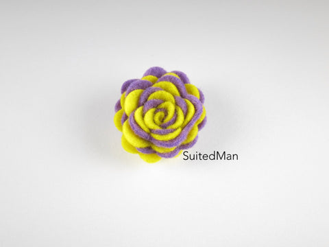 Lapel Flower, Felt, Two Tone, Lavender/Yellow Colorway