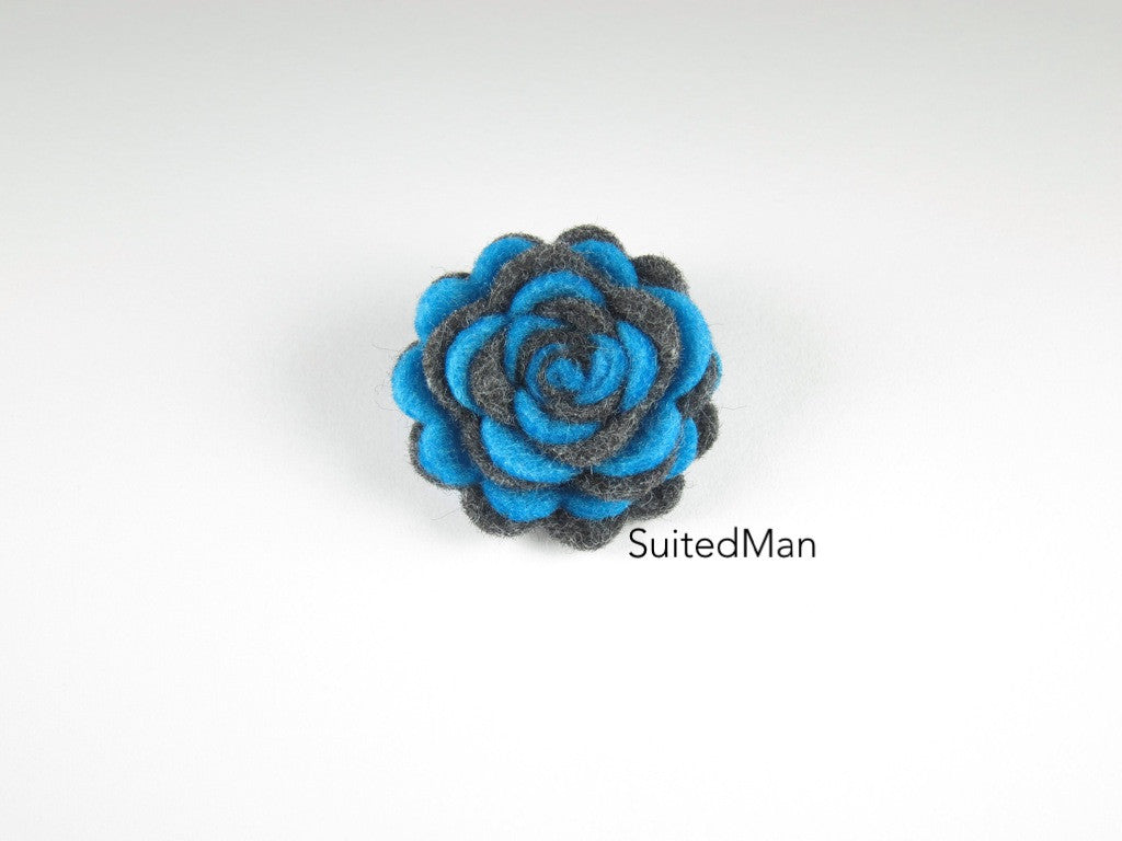 Lapel Flower, Felt, Two Tone, Aqua Blue/Dark Grey Colorway - SuitedMan