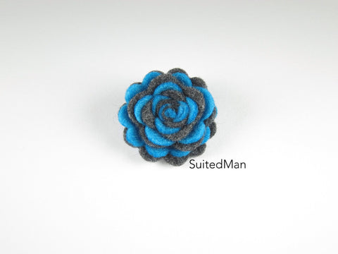 Lapel Flower, Felt, Two Tone, Aqua Blue/Dark Grey Colorway
