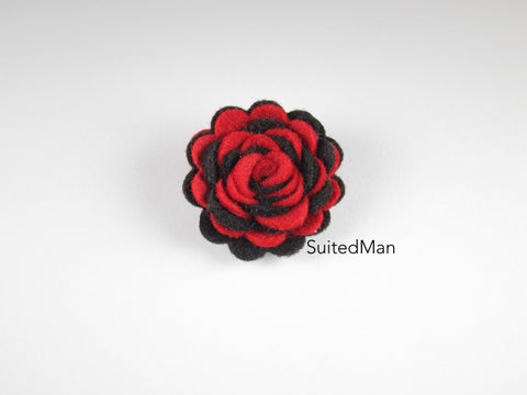 Lapel Flower, Felt, Two Tone, Red/Black Colorway