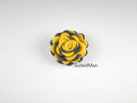 Lapel Flower, Felt, Two Tone, Deep Yellow/Dark Grey Colorway