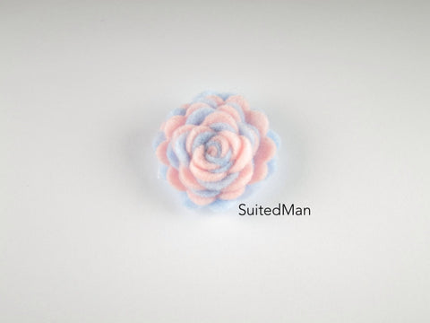 Lapel Flower, Felt, Two Tone, Light Pink/Baby Blue Colorway