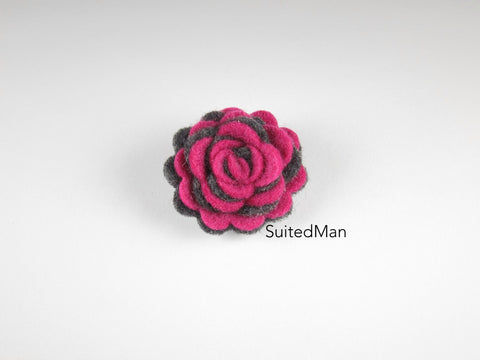 Lapel Flower, Felt, Two Tone, Magenta/Dark Grey Colorway