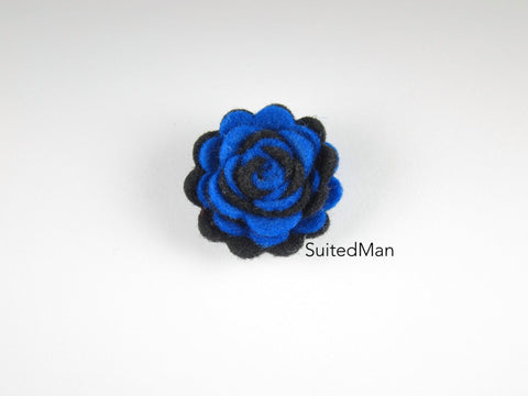 Lapel Flower, Felt, Two Tone, Black/Royal Blue Colorway - SuitedMan