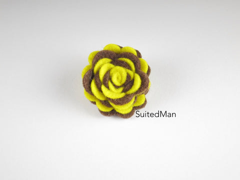 Lapel Flower, Felt, Two Tone, Yellow/Brown Colorway
