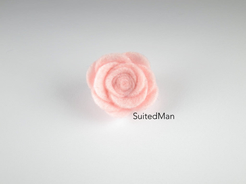 Lapel Flower, Felt, Rose, Light Pink - SuitedMan