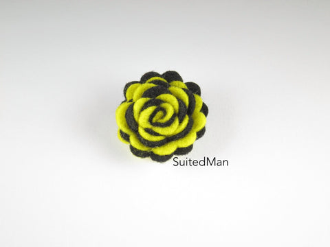 Lapel Flower, Felt, Two Tone, Yellow/Black Colorway