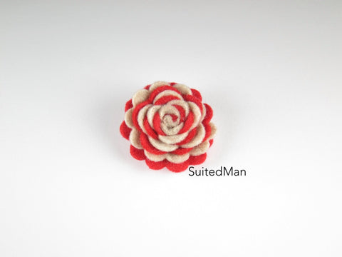 Lapel Flower, Felt, Two Tone, Red/Burlap Colorway - SuitedMan