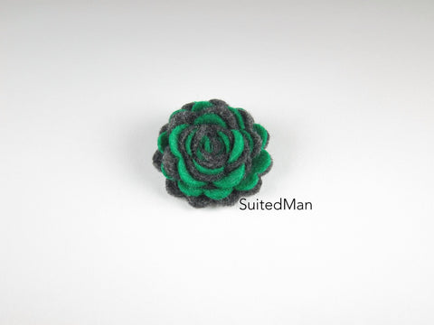 Lapel Flower, Felt, Two Tone, Emerald Green/Dark Grey Colorway