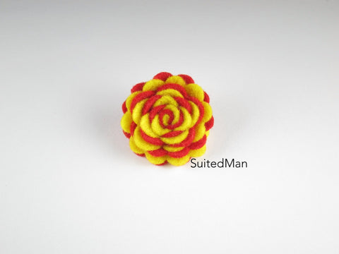 Lapel Flower, Felt, Two Tone, Yellow/Red Colorway