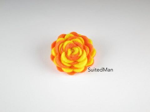 Lapel Flower, Felt, Two Tone, Yellow/Tangerine Colorway