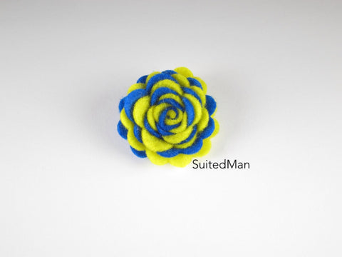 Lapel Flower, Felt, Two Tone, Royal Blue/Yellow Colorway