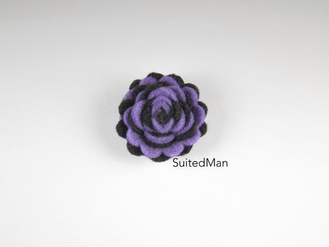 Lapel Flower, Felt, Two Tone, Lavender/Black Colorway