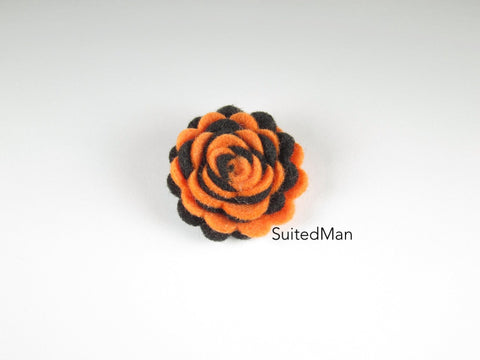 Lapel Flower, Felt, Two Tone, Tangerine/Black Colorway