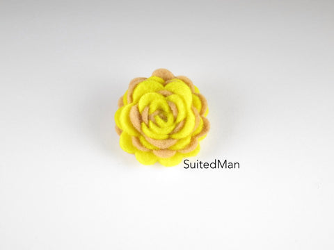 Lapel Flower, Felt, Two Tone, Mocha/Yellow Colorway
