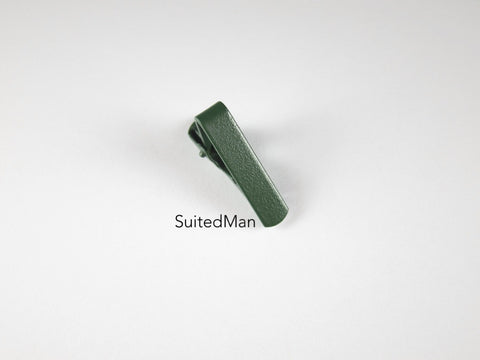 "Tie Clip, 1"", Eggshell, Forest Green - SuitedMan"